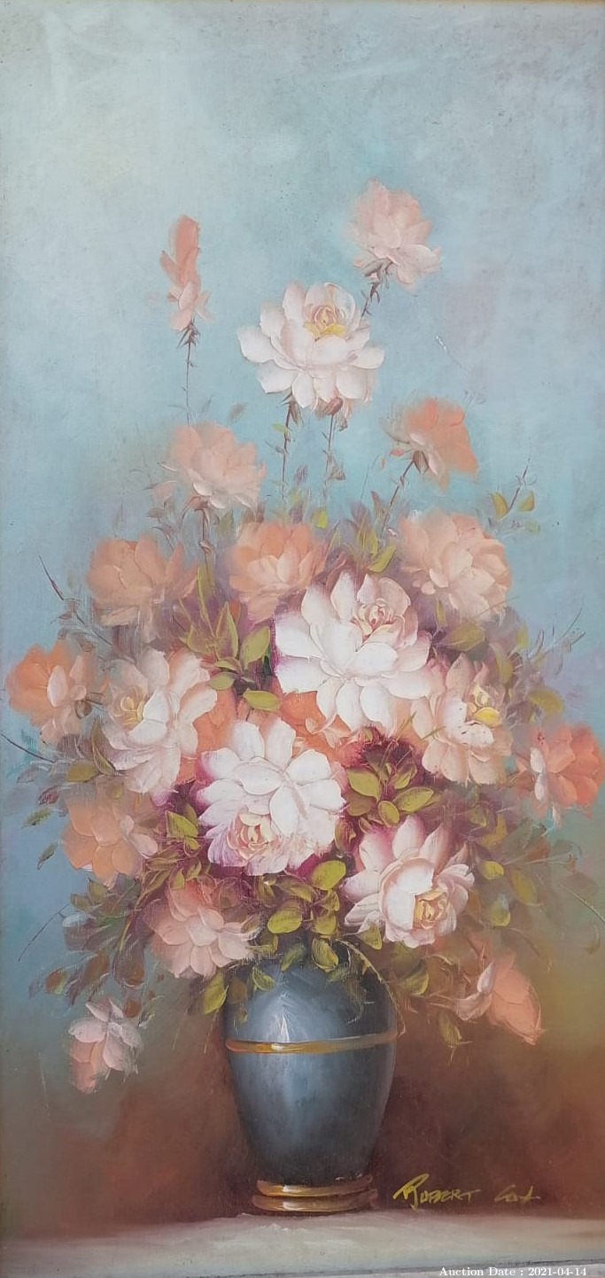 12 Pink Flowers in Vase by Robert Cox