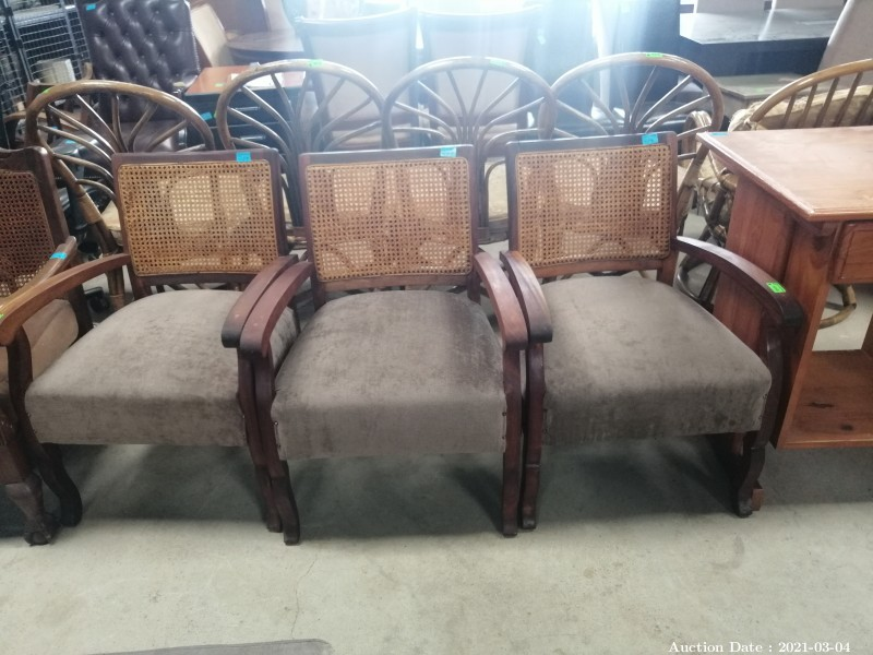 117 Absolutely Stunning!! Trio of Solid Wood & Rattan Upholstered Casual Chairs