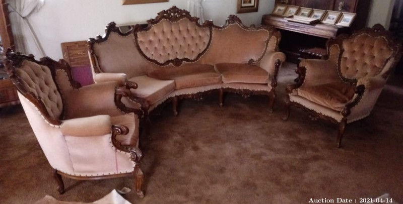 25 Victorian Style 3 Piece Lounge Suite