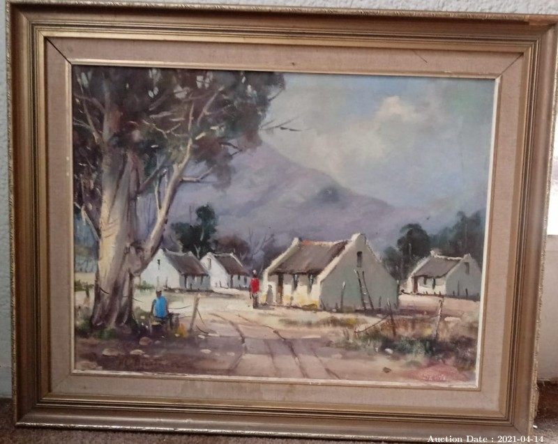 02 Farm Cottages signed Oil on Board