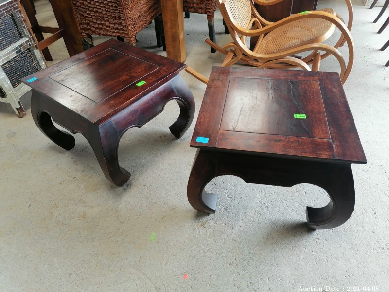317 Pair of Indonesian Style Wooden Side Tables