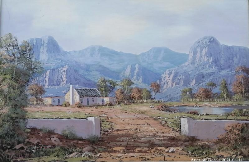 11 Mountain Cottage Landscape by WP Grobler