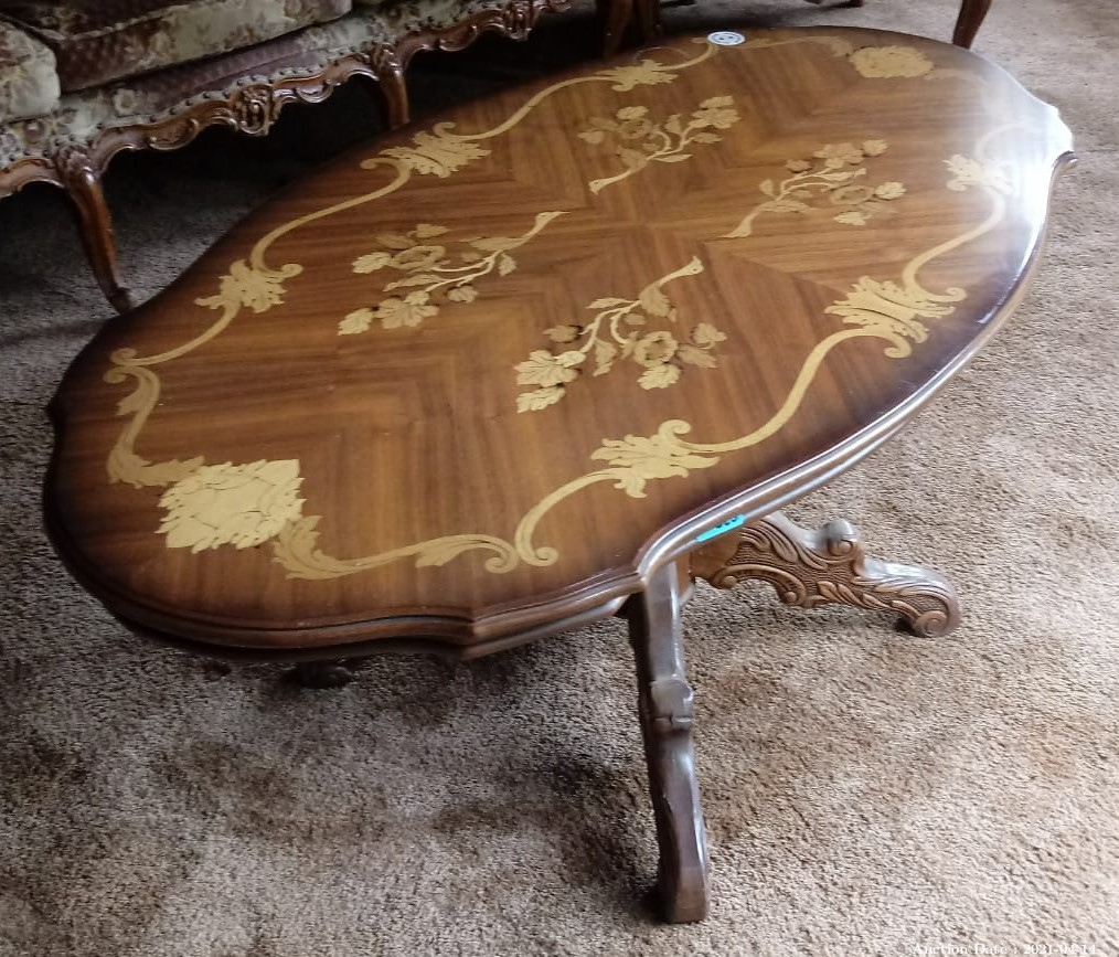 23 Vintage Coffee Table with Floral Inlay