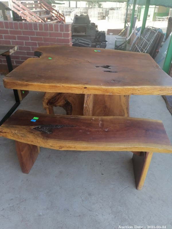 102 Incredible Solid Teak Table with 2 Benches