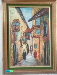 Description 342 Beautifully Framed Signed Oil on Board - Israeli Street Scene