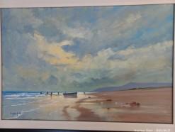 Description Lot 511 - \'Fishermen on Beach\' Oil on Board by Eugene Hurter