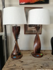 Description 347 Stunning Paor of Lamps with Wooden Base
