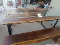 Description 103 Stylish Teak and Glass Dining Table with 2 Benches