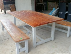 Description 333 Stunning Wooden Dining Table with 2 Benches