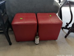 Description 2 x red leatherette ottomans (40 x 40 x 45 cm each).  Each ottomans auctioned individually.  This bid will be used as your proxy bid on our live auction - Online bidders will be notified by 6 Pm by Auction day. AP Score 10/10.. This is a live and online auction.