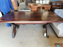 Description A solid almost rustic dining room table (200 x 100 x 75 cm)  This bid will be used as your proxy bid on our live auction - Online bidders will be notified by 6 Pm by Auction day. AP Score 10/10.. This is a live and online auction.