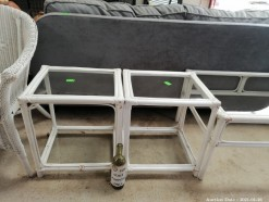 Description 2 x glass top cane painted white side table (50 x 40 x 50 cm each)  Auctioned as a set.  This bid will be used as your proxy bid on our live auction - Online bidders will be notified by 6 Pm by Auction day. AP Score 10/10.. This is a live and online auction.