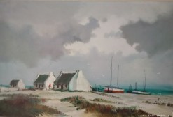 Description 18 Fisherman Cottages - Signed Oil on Board