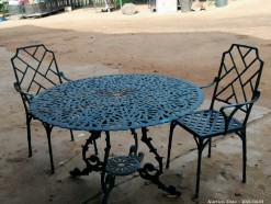 Description 332 Wrought Iron Patio Table with 2 Chairs
