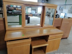 Description A beachwood polished dressing table with mirror and side cupboards & drawers and separate stool (150 x 55 x 150 cm)  This bid will be used as your proxy bid on our live auction - Online bidders will be notified by 6 Pm by Auction day. AP Score 10/10. This is a live and online auction.