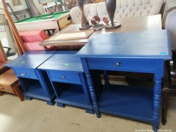 Description 309 Blue drawer table with 2x Bedside Tables