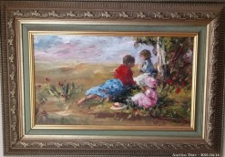 Description 17 Children in Field by Pieter Millard - Investment Art !