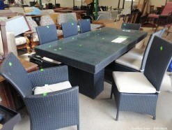 Description 322 Stunning Wicker Style 8 Seater Dining Suite