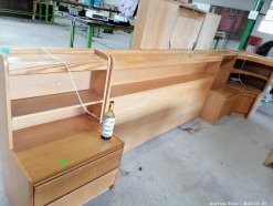 Description A beachwood polished headboard, side table and comer cabinet bedroom suite (340 x 70 x 110 cm)  This bid will be used as your proxy bid on our live auction - Online bidders will be notified by 6 Pm by Auction day. AP Score 10/10. This is a live and online auction.