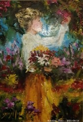 Description 06 Girl with Flower Bouquet by Sonya Meyer - Great Investment Opportunity!